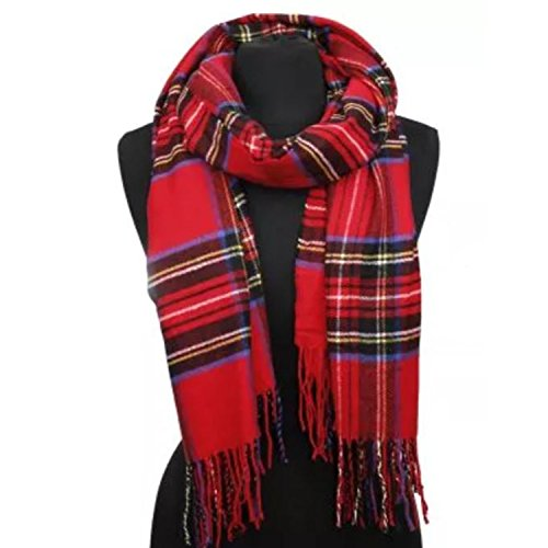 APPARELISM Women's Winter Scottish Clan Plaid Oversized Cashmere Feel Blanket Scarf Wrap Shawl.(Plaid Red) by APPARELISM