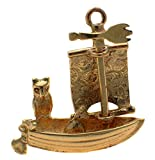 9k Gold Owl and Pussy Cat Go to Sea Boat Charm, Moving Sail. Handmade by Welded Bliss
