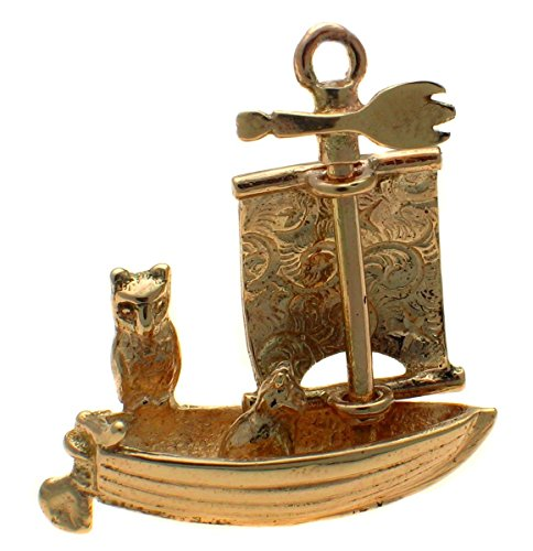 9k Gold Owl and Pussy Cat Go to Sea Boat Charm, Moving Sail. Handmade by Welded Bliss by Welded Bliss