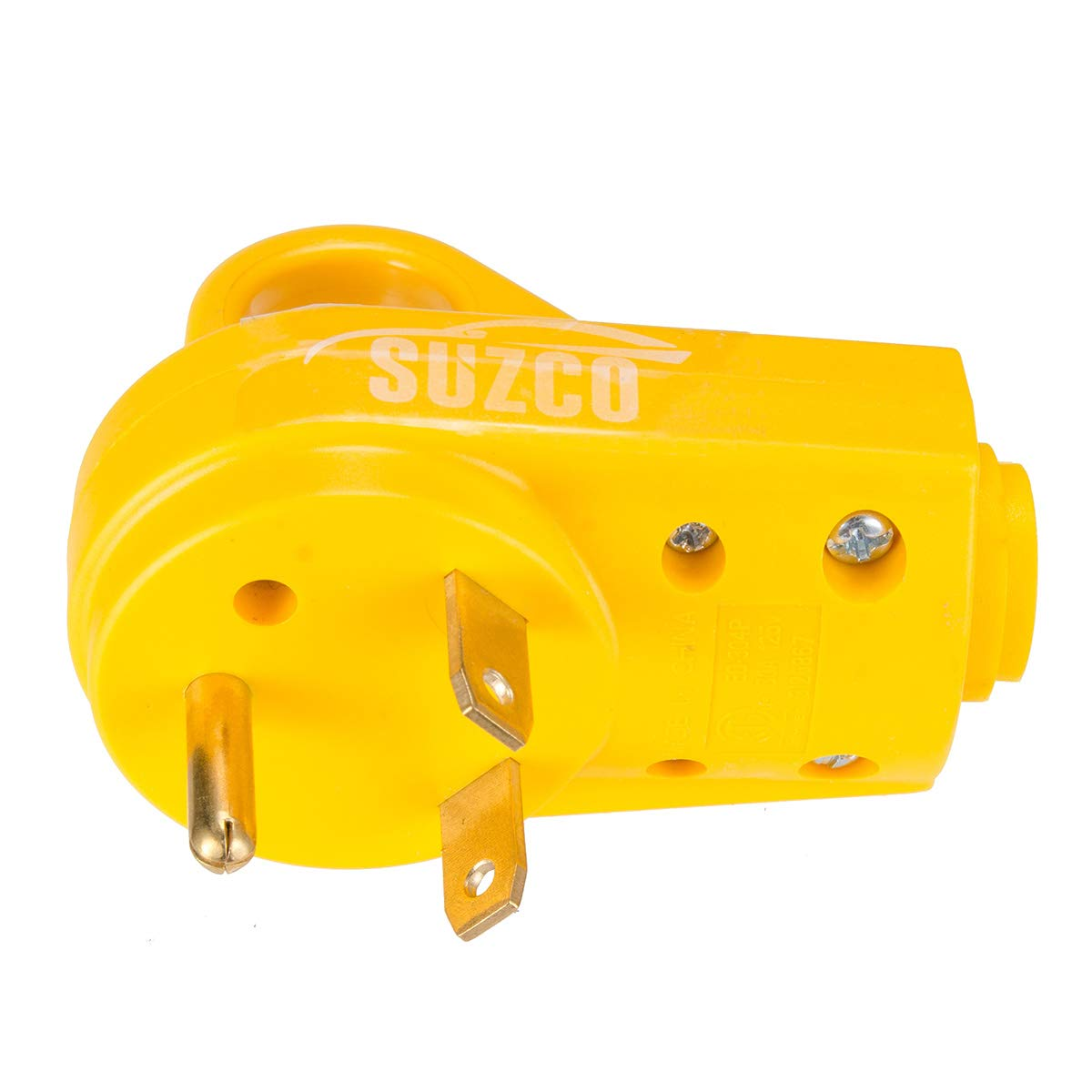 SUZCO 30 Amp RV Male Power Cord Replacement Plug End 125 Volt Repair Receptacle Grip Electrical Plug