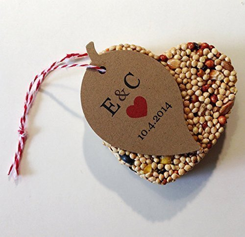 Shaped Favor Card - 30 Bird Seed Heart Shaped Favors - Leaf shaped personalized tag with heart shaped bird seed favors