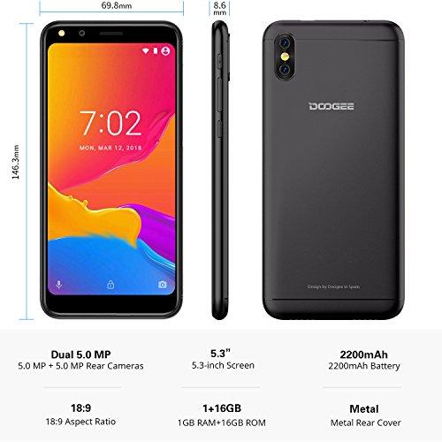 Unlocked Cell Phones, DOOGEE X53 Android 7.0 Dual SIM Smartphones - 5.3'' 18:9 Ratio Full Vision Display - 1GB RAM + 16GB ROM - Dual 5MP Camera - 3G Dual SIM Unlocked Phones - Black