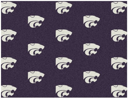 5'x8' KANSAS STATE - Milliken NCAA College Sports Team Repeat Logo 100% Nylon Pile Fiber Broadloom Custom Area Rug Carpet with Premium Bound Edges ()
