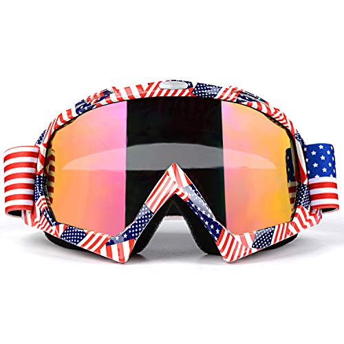 Venhoo Motocross Goggles Dirt Bike ATV Motorcycle Off Road Racing MX Goggles UV Protection Dustproof Bendable Moto Riding Eyewear Glasses with Adjustable Strap for Unisex Adult-American ()