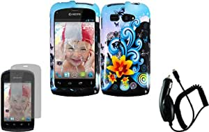 For Kyocera Hydro C5170 Hard Design Cover Case Yellow Lily+LCD Screen Protector+Car Charger