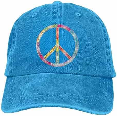 5298122ebc5 Rainbow Peace Sign Cowboy Baseball Cap for Men Women Trucker Style Hat