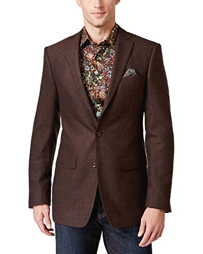 Tallia Mens Tweed Herringbone Sportcoat Brown 36R