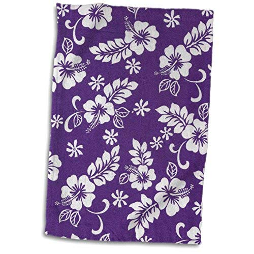 3D Rose Purple Background and Hibiscus Flower Pattern A Tropical Addition for Beach Lovers Hand/Sports Towel 15 x 22 [並行輸入品] B07RFGYJWY