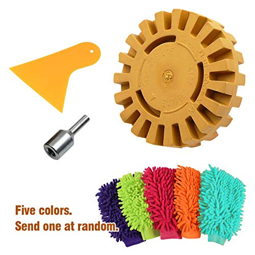 Decal Eraser (Genleas 4 Pack Car Decal Remover Kit Set, Including Chenille Glove/Scraper/ 4 inch Rubber Eraser Wheel/Drill Adapter Kit)