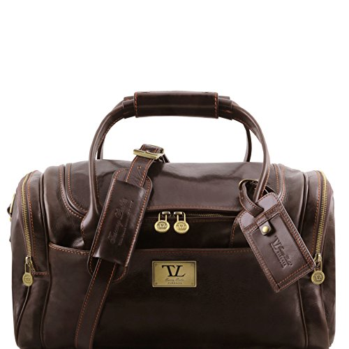 Tuscany Leather TL Voyager Travel leather bag with side pockets - Small size Dark Brown by Tuscany Leather