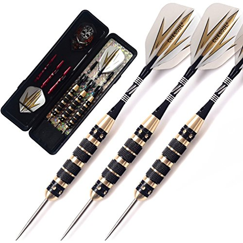 CUESOUL 26 Grams Steel Tip Darts - Black Coating brass (26g Darts)