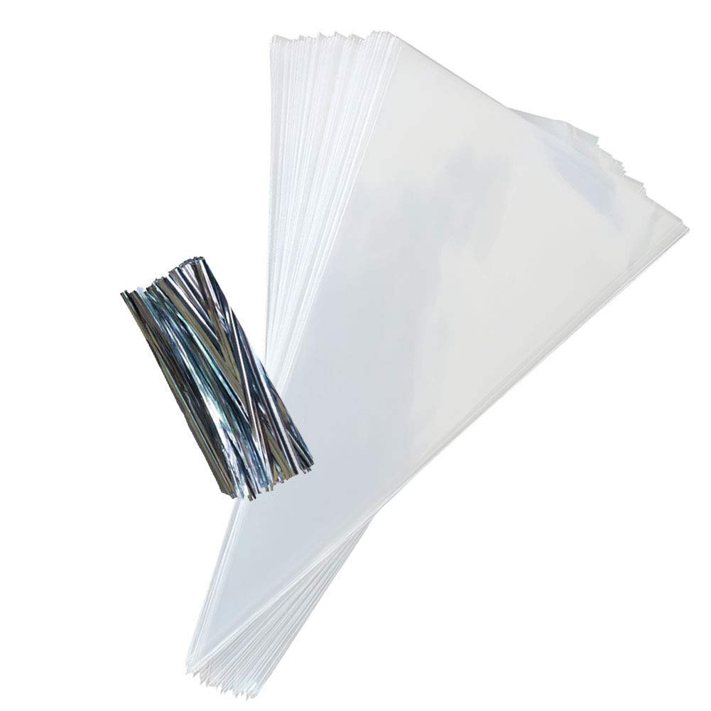 100 Clear Cone Shaped Treat Bags - 1.4 Mils Thick OPP Plastic Cello Bags Triangle for Favor Treat Gift Bag (7.5 x 17 inch) The Elixir