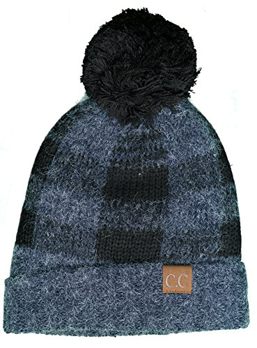 H-199CP-3106 Buffalo Check Hat w/ Black Pom- Navy/Black from Funky Junque
