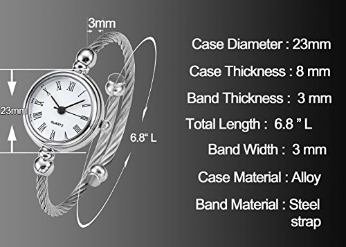 Top Plaza Womens Fashion Silver Tone Analog Quartz Bangle Cuff Bracelet Wrist Watch, Unique Elegant Stainless Steel Wire Band, Roman Numerals - White by Top Plaza (Image #3)