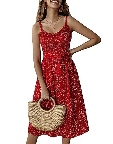 Daxvens Womens Sundress Summer Polka Dot Beach Party Casual Sun Dress with Pockets Red