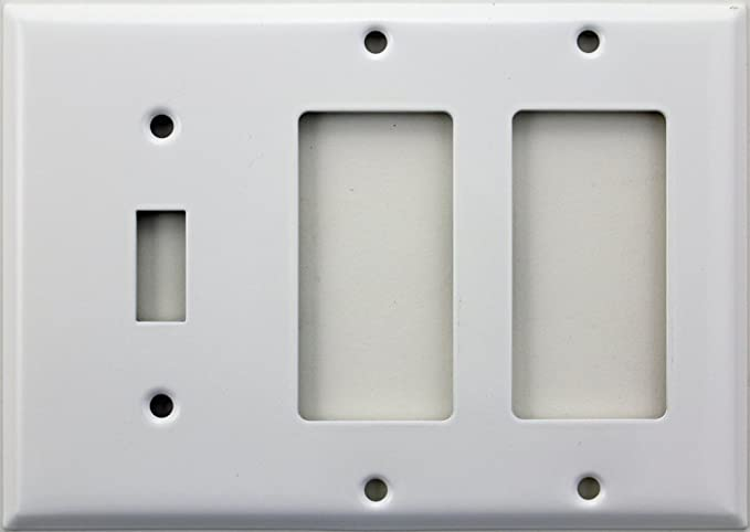Stamped Steel Smooth White 3 Gang Wall Plate 1 Toggle Switch 2 Gfi Rocker Openings Amazon Com