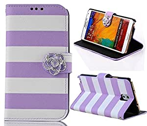 ArtMine Fashion Camellia Rainbow Leather for Samsung Galaxy Note3 N9000 case -Purple and White.