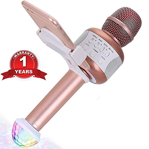 araoke Microphone for Kids Friends Portable KTV Karaoke Machine with Speaker Recording Singing Parties Light Holder Perfect for iphone ipad Android Smartphone (Rose Gold) ()