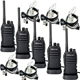 Retevis RT21 Two Way Radio Rechargeable 16 CH UHF 400-480MHz VOX Scrambler Walkie Talkies (5 Pack) and 2 Pin Covert Air Acoustic Earpiece (5 Pack)