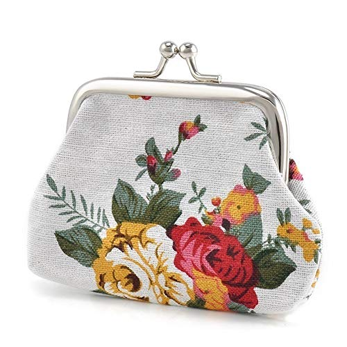 Aland Vintage Flower Canvas Women Hasp Clutch Buckle ❁ Coin Purse ❁ Cash Card Holder Bag Jewelry Double-Sided Glass Ball time Jewel Necklace Moon Series Pendant White