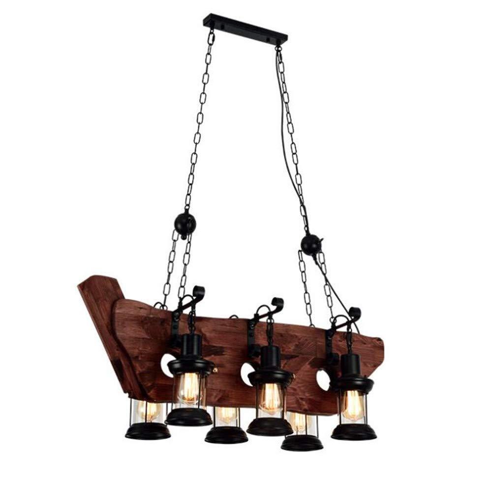 Retro Industrial Pendelleuchte Hängeleuchte Höheverstellbar Vintage Kronleuchter Holz Metall E27 Hängelampe Loft Pendellampe für Esstisch Café Büro Bar Wohnzimmer Esszimmer Restaurant (6-Flammig B)