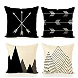 chillake Home Decor Pillow Covers for Couch, Sofa, or Bed Set of 4 18 x 18 inch Modern Quality Design 100% Cotton Stripes Geometric
