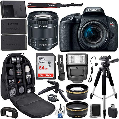 Canon EOS Rebel T7i DSLR Camera with 18-55mm Canon Lens & Premium Accessory Bundle - Includes: SanDisk Ultra 64GB SDXC Memory Card & More
