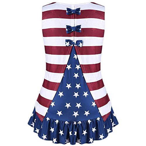 Matasleno July 4th Women's American Flag Button Down T Shirt with Tie Front (Capilene 2 Cap)