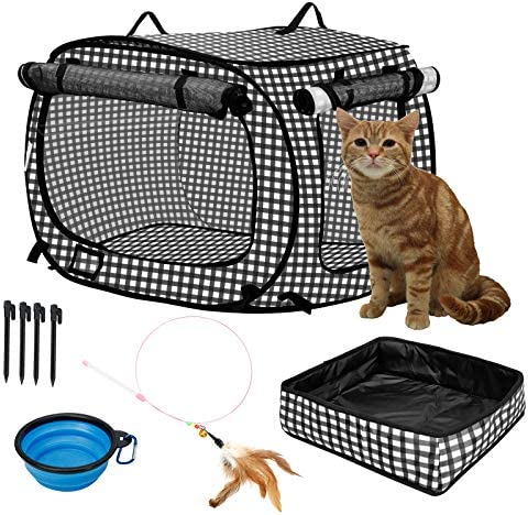confote Indoor Outdoor Crate Pets, Collapsible Portable Cat Cage Kennel Large Black 24 x16 x15 Portable Kennel Carrier and Feeding Kit Collection
