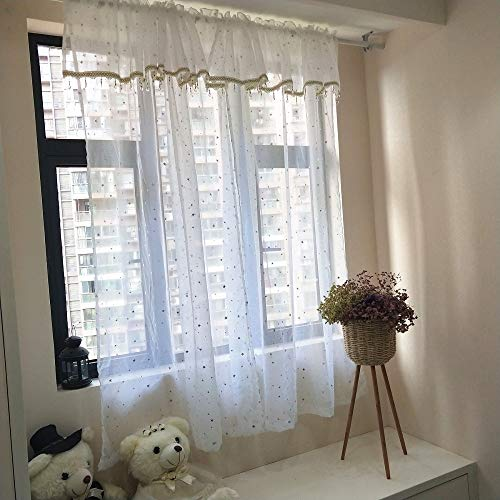 AiFish 1 Panel Shiny Cute Little Star Valance with Decorative Plastic Love Shape Beads Kids Room Sheer Curtain Panel Drapes Rod Pocket Window Treatment Screen for Girls Bedroom Dining Living Room