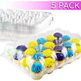 Chefible 24 Cupcake Carrier | Cupcake Box | Durable & Sturdy | High Dome Design | Set of 5 Containers
