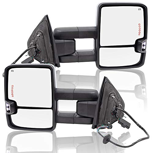 BROCK Performance Upgrade Set Power Folding Tow Chrome Mirrors Heated Telescopic Dual Arms Smoke External Signal Clearance Lamp for 14-18 Silverado Sierra Pickup Truck