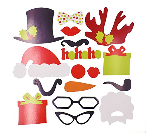 Raylinedo 17PCS DIY Photo Booth Props Moustache Lip Hat Antler Gift Stick Christmas Party