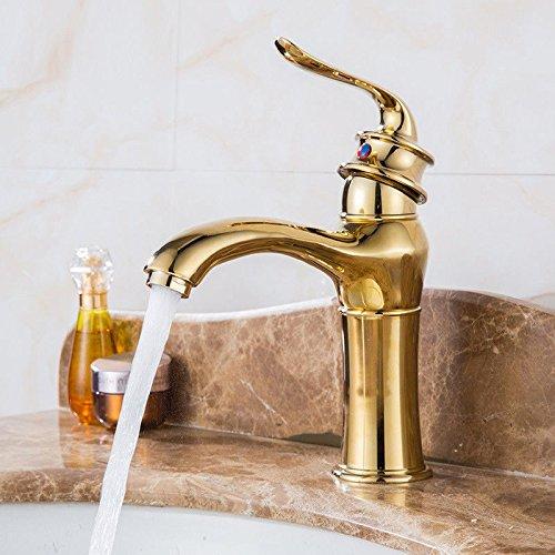 MEIBATH Waschtischarmatur Badezimmer Waschbecken Wasserhahn Küchenarmaturen Verchromen Kupfer Einhebelsteuerung Warmes und Kaltes Wasser Gold Einzelne Bohrung Küchen Wasserhahn Badarmatur