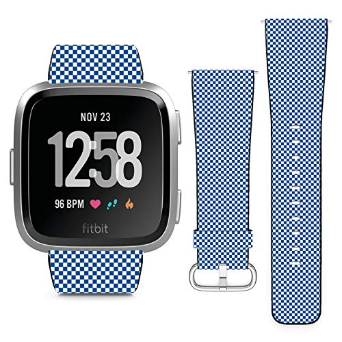 Compatible with Fitbit Versa // Leather Replacement Bracelet Strap Wristband with Quick Release Pins // Small Checkerboard ()