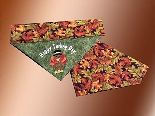 All Sizes Happy Turkey Day Bandana//Over the Collar Thanksgiving Dog Bandana//Embroidered Personalized Dog Bandana