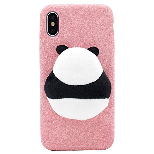 Plush Case (iPhone X Case, MC Fashion [Stuffed Toy Panda] Winter Warm Cozy Cute Fluffy Cover Soft Plush Phone Case for Apple iPhone X (2017) Release (Pink))