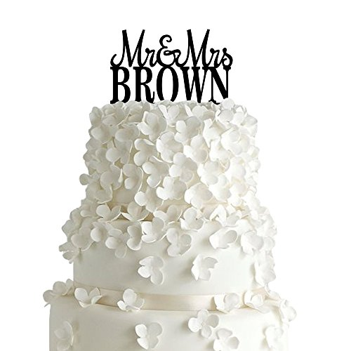 Sugar Yeti | Custom Personalized Mr & Mrs Wedding Cake Topper With Your Last Name Acrylic Cake Topper for Special Events