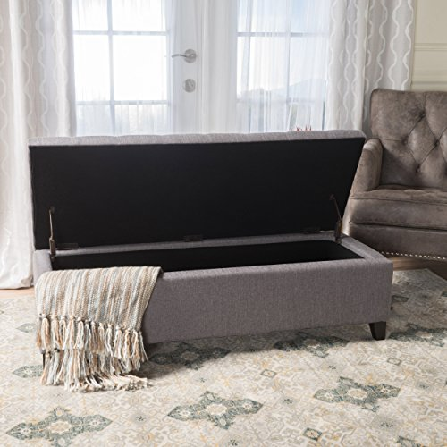 Christopher Knight Home 300162 Living Sterling Light Grey Fabric Tufted Storage Ottoman