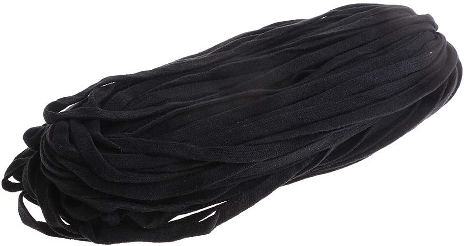 1 Roll 12mm 85m Cotton Drawstrings Pearl Flat Draw Cord//Drawstrings for Hand Crafts Black