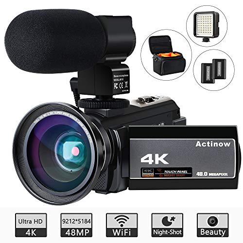 Video Camera 4K Camcorder Ultra HD 48MP WiFi IR Night Vision Vlogging Camera 3″ IPS Touch Screen 16X Digital Zoom Recorder Digital Camera with Microphone,Wide Angle Lens,LED Video Light,Camera Bag