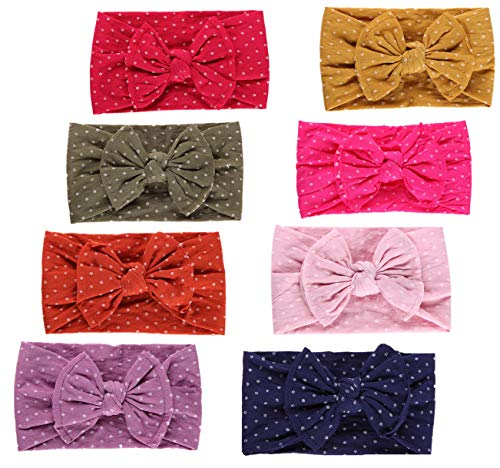 - Qandsweet Baby Girl's Beautiful Headbands Elastic Hairband for Photograph (Dots Styles of 8)