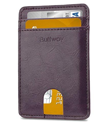 - Slim Minimalist Leather Wallets for Men & Women (Small Size) - Seattle Purple