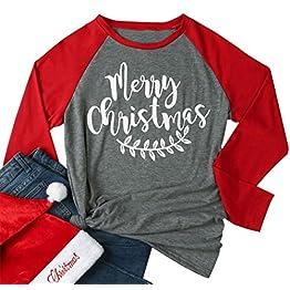 3331a634f Women Merry Christmas Leaf Baseball T-Shirt Long Sleeve Letters Print  O-Neck Casual Tees
