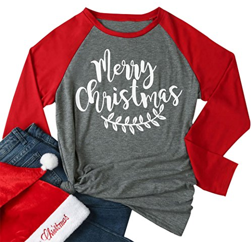 Women Merry Christmas Leaf Baseball T-Shirt Long Sleeve Letters Print O-Neck Casual Tees Size M (Gray) -
