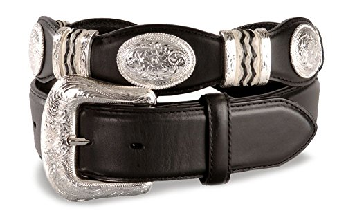 Tony Lama Men's Scalloped Leather Belt Black 34