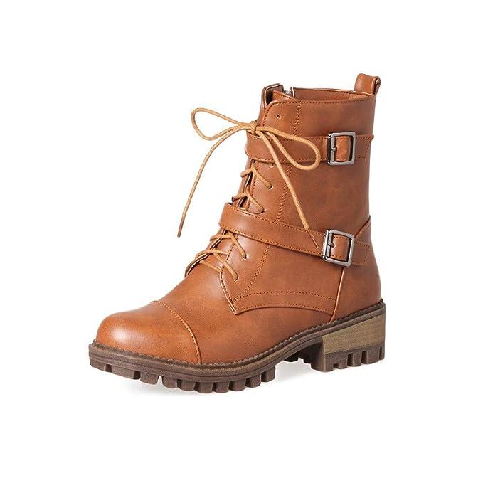 Naturazy Botas Largas para Mujeres, Botines Mujer Tacon Invierno Planos Tacon Ancho Piel Botas De Mujer Medio Zapatos Combat Casual Planas Zapatos De ...
