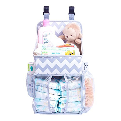 - Hanging Diaper Caddy Baby Essentials Organizer For Crib, Playard And Changing Table, Side Mesh Pockets Storage Bag Liner Holder Stacker Chevron Pattern Grey And White For Boys And Girls By Fatpanda