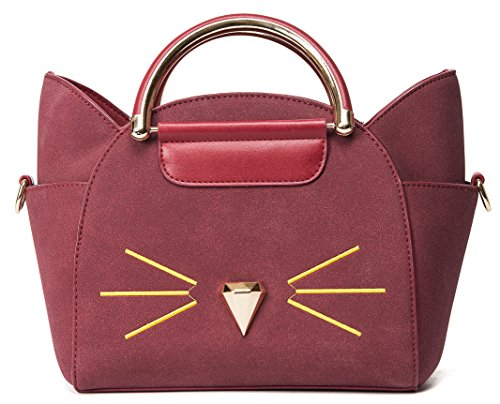 Fashion Shoulder Top Cross Cute Handle Body QZUnique Women's Red Summer Cat Bag tEWwqZHzn