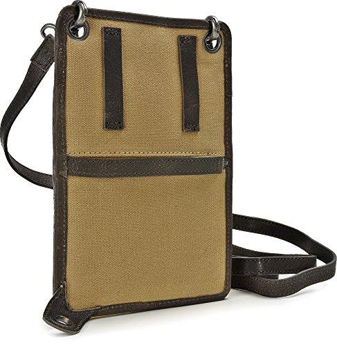 15 Inch by Jerome Westford, Borsa a tracolla, Mini Messenger, sotto la giacca, pelle e tela, beige, sabbia, camel, 13 x 19,5 cm